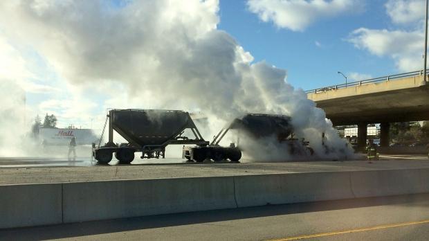 Tanker truck fire on Highway 427