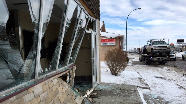 Pickup truck crashes into China Pastry in Regina