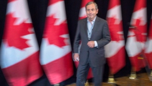 David MacNaughton, Canada's ambassador to the United States, heads from the microphone after talking to reporters as the Liberal cabinet meets in St. John's, N.L. on Tuesday, Sept. 12, 2017. (Andrew Vaughan / THE CANADIAN PRESS)