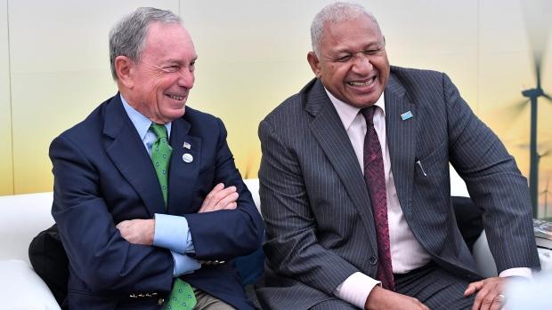 Michael Bloomberg and Frank Bainimarama