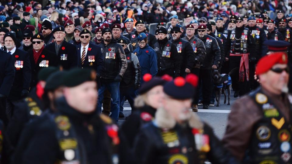 Veterans parade during Remembrance Day ceremonies in Ottawa on Saturday, Nov. 11, 2017. (THE CANADIAN PRESS / Sean Kilpatrick)