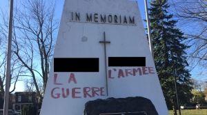 A war memorial monument in Beaudet Park was struck by vandals on the morning of Remembrance Day. (Photo: CTV Montreal)