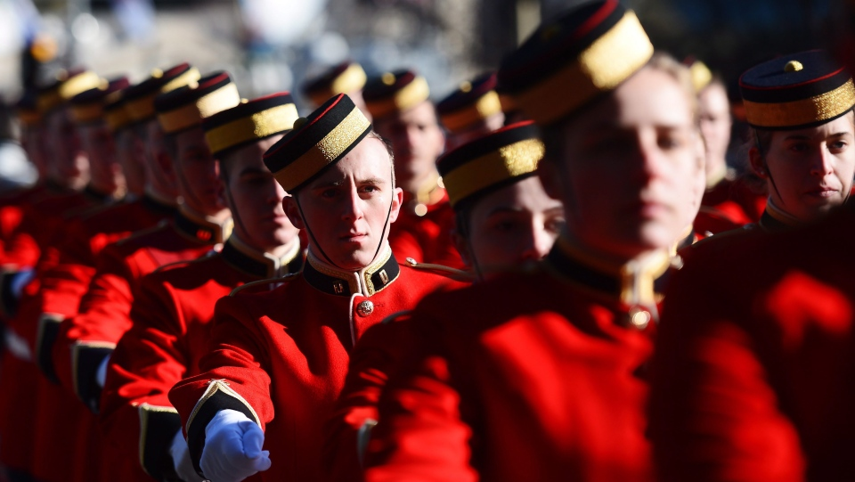 Soldiers parade during Remembrance Day ceremonies at the National War Memorial in Ottawa on Saturday, Nov. 11, 2017. THE CANADIAN PRESS/Sean Kilpatrick