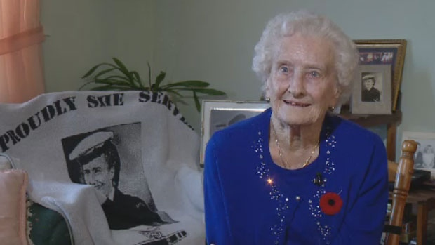 Bunny McIntrye, 96, was among one of the first women to join the Women's Royal Canadian Naval Service in the 1950's.
