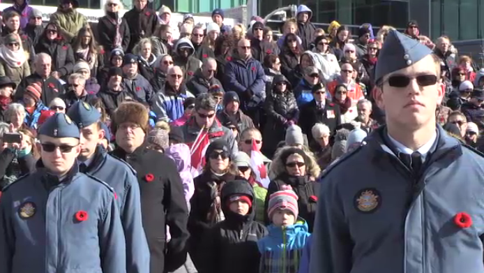 Crowds at Kitchener's Remembrance Day service. (Nov. 11, 2017)