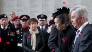 Princess Anne, second right, at a Remembrance Day ceremony under the Menin Gate in Ypres, Belgium on Saturday, Nov. 11, 2017. (AP Photo/Virginia Mayo)