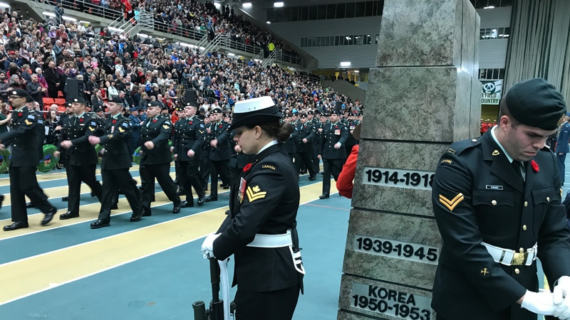 Soldiers marching through the University of Alberta's Butterdome for Remembrance Day on Saturday, November 11, 2017.