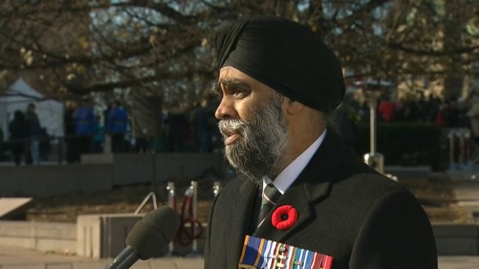 Defence Minister Harjit Sajjan speaks to CTV News, in Ottawa, on Saturday, Nov. 11, 2017.