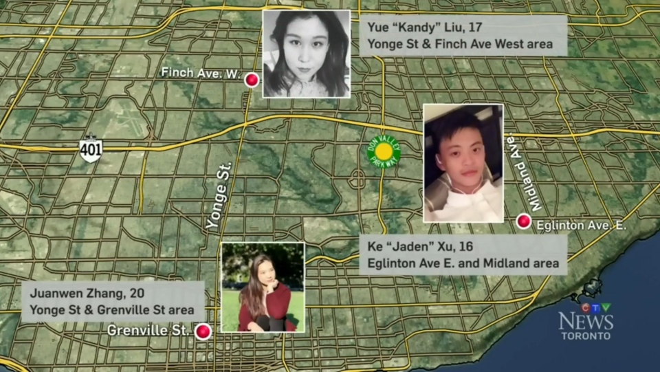 Chinese students who Toronto police say have gone into hiding due to a ransom scam. (CTV Toronto)