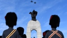 Royal Canadian Air Force CF-18 Hornets fly over the National War Memorial during the National Remembrance Day Ceremony in Ottawa on Saturday, Nov. 11, 2017. THE CANADIAN PRESS/Justin Tang