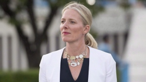 Minister of Environment and Climate Change Catherine McKenna makes her way to speak with media at the United Nations Headquarters in New York City, Wednesday September 20, 2017. (Adrian Wyld / THE CANADIAN PRESS)