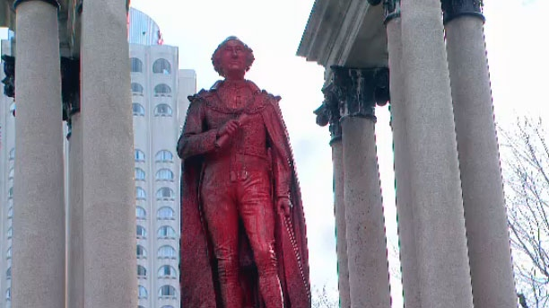 "In a video and accompanying video, a group of ""local anti-colonial anti-racists"" claimed responsibility for defacing the statue of John A. MacDonald in Place du Canada."