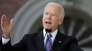 In this May 24, 2017, file photo, former Vice President Joe Biden delivers the annual Harvard College Class Day address on the campus of Harvard University in Cambridge, Mass.  (AP Photo/Steven Senne, File)