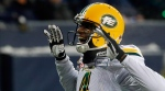 Edmonton Eskimos' Adarius Bowman (4) celebrates his touchdown against then Winnipeg Blue Bombers during second half CFL western semifinal action in Winnipeg on Sunday, November 12, 2017. (THE CANADIAN PRESS/John Woods)