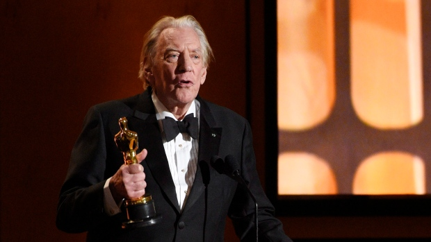 Actor Donald Sutherland accepts his honorary Oscar at the 2017 Governors Awards at The Ray Dolby Ballroom on Saturday, Nov. 11, 2017, in Los Angeles. (Photo by Chris Pizzello/Invision/AP)
