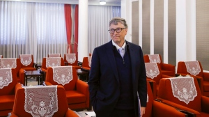 Microsoft co-founder and philanthropist Bill Gates attends a meeting with Chinese Premier Li Keqiang (not pictured) at the Zhongnanhai government compound in Beijing, China, Friday, Nov. 3, 2017. (Thomas Peter/Pool Photo via AP)