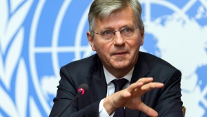 Jean-Pierre Lacroix, UN Under-Secretary-General for Peacekeeping Operations, speaks during a press conference at the European headquarters of the United Nations in Geneva, Switzerland, Friday, Sept. 8, 2017. (THE CANADIAN PRESS / Martial Trezzini / Keystone via AP)