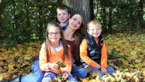 Stephanie with Riley, Caden and Hunter.