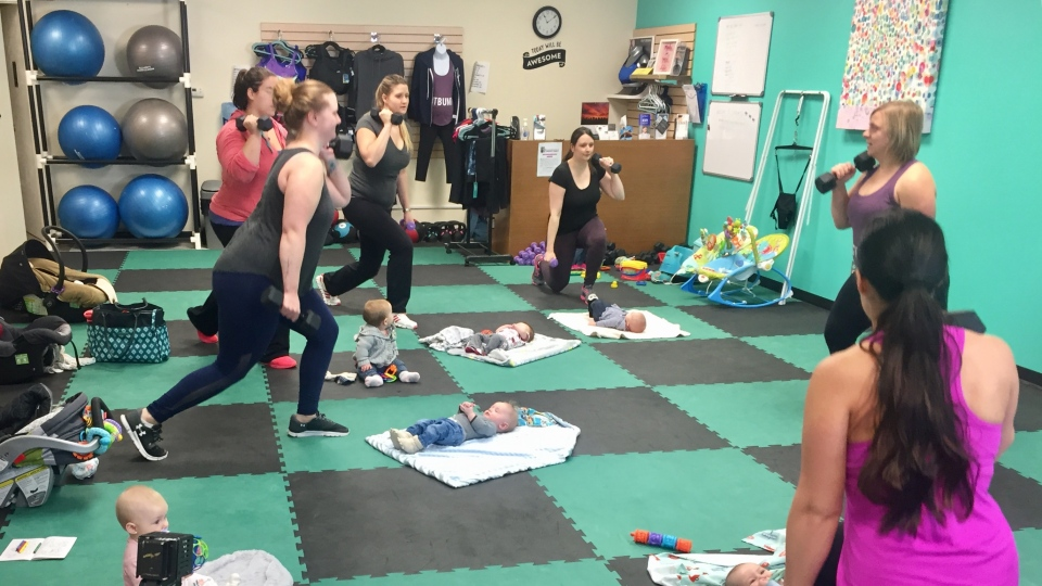 Mothers at this mommy and baby workout class discuss the new changes to the parental leave (Laura Woodward/CTV Saskatoon).