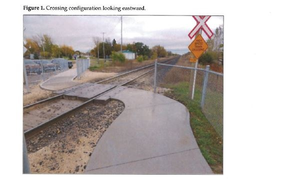 The report suggests ways this crossing in Ste. Anne, Manitoba could be made more safe. (Source: Transportation Safety Board of Canada)