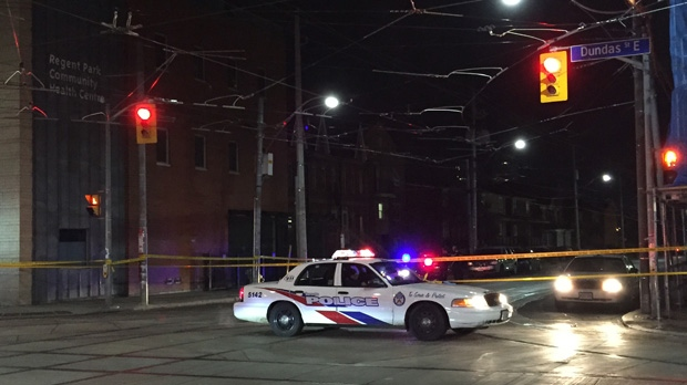 Police say one man is in hospital with critical injuries after a shooting near Regent Park. (Mike Nguyen/ CP24)