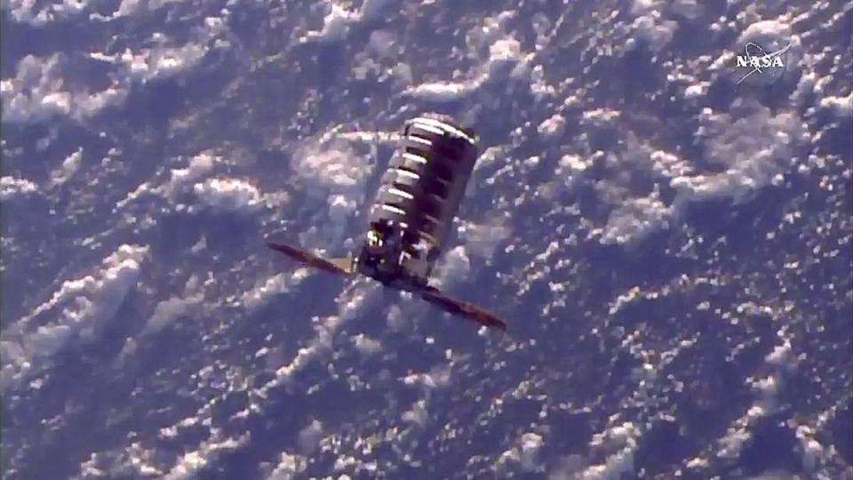 The Cygnus cargo spacecraft moves towards the International Space Station, on Nov. 14, 2017. (NASA TV via AP)