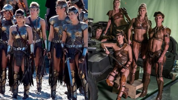 """Amazons are shown in these side-by-side images from """"Wonder Woman,"""" left, and the set of """"Justice League."""" (Twitter / Atte Timonen)"""