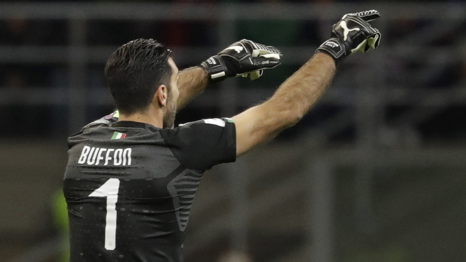 Italy goalkeeper Gianluigi Buffon gives directions to his teammates during the World Cup qualifying play-off second leg soccer match against Sweden, on Nov. 13, 2017. (Luca Bruno / AP)