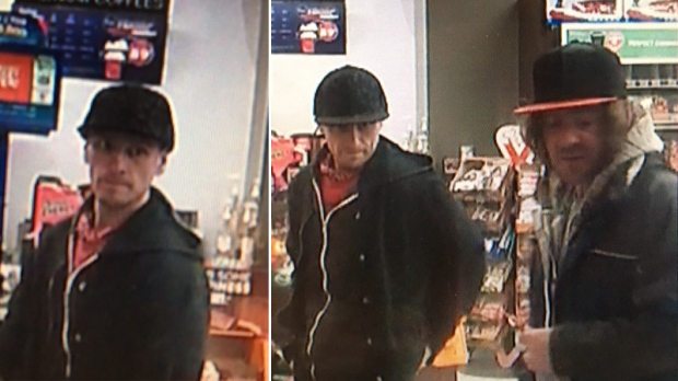 Mac's, on Pembroke Street East, reported a theft from November 11th.  The first suspect, left, is described as a man wearing an all-black hat, red shirt, black zippered hoodie and black jacket. The second suspect, right, is described as a long-haired man, wearing a black hat with a red brim, a light coloured hoodie and black jacket.