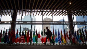 A man walks past the flags of participating nations at the 2017 United Nations Peacekeeping Defence Ministerial conference in Vancouver, B.C., on Tuesday November 14, 2017. The two-day conference is largest gathering of defence ministers dedicated to UN peacekeeping. (Darryl Dyck / THE CANADIAN PRESS)