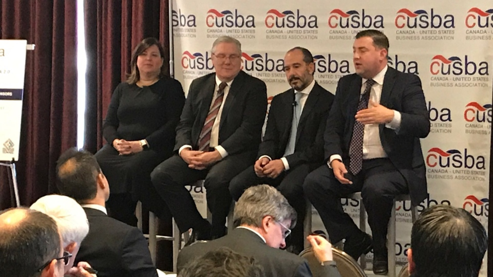 A panel of experts from Canada, The U.S.A and Mexico discuss the ongoing NAFTA negotiations at a CUSBA luncheon in Detroit, Nov. 14, 2017. (Rich Garton/CTV Windsor)