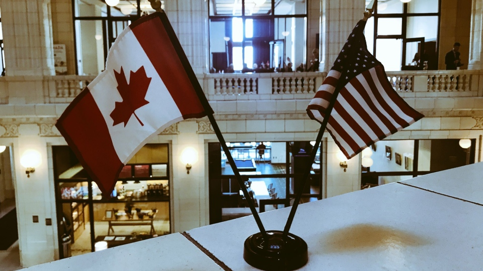 Canada US Flags displayed at the CUSBA luncheon, Nov. 14, 2017. (Rich Garton/CTV Windsor)