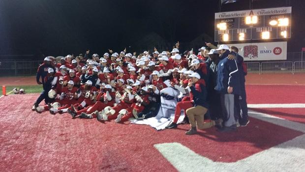 Acadia University celebrates their Loney Bowl win on Tuesday, Nov. 14, 2017.