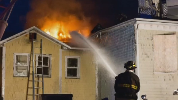 Fire crews work to put out a fire at vacant buildings in Saint John on Tuesday, Nov. 14, 2017. (Photo: Joseph Comeau)