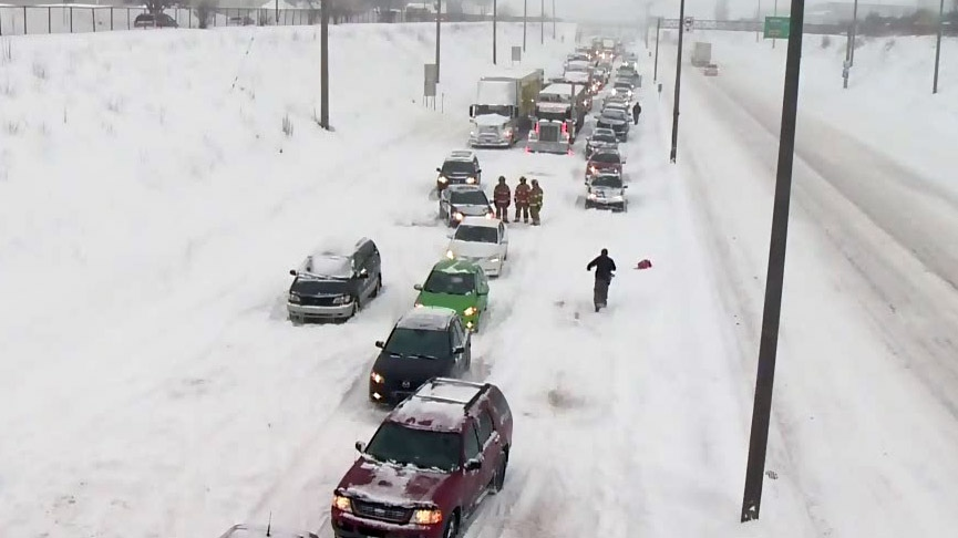 Hundreds of people were stranded on Highway 13 on March 14, 2017 when trucks crashed, blocking the highway and its exits