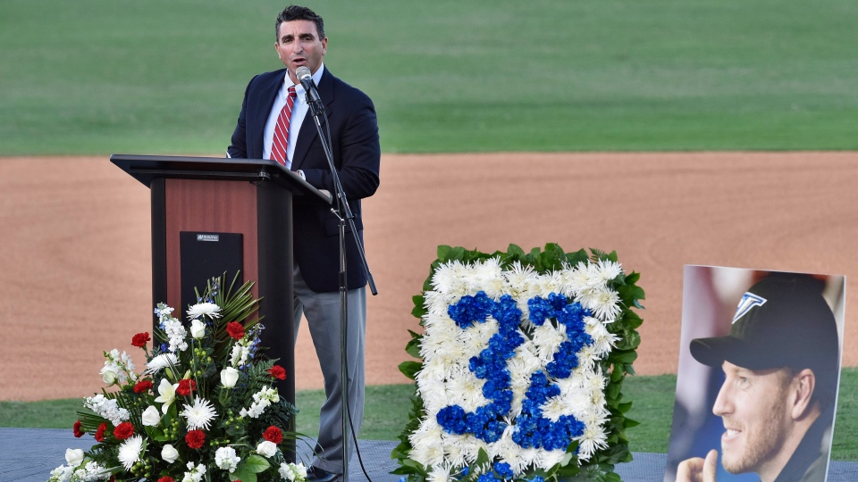 Former Toronto Blue Jays general manager JP Ricciardi talks about his former Blue Jays pitcher, Roy Halladay, Tuesday, Nov. 14, 2017, in Clearwater, Fla. (AP Photo/Steve Nesius)