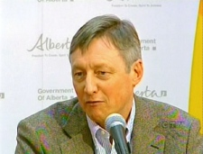 Dr. Andre Corriveau, Alberta's chief medical health officer, updated reporters on the new cases during a press conference, Friday, May 1, 2009.