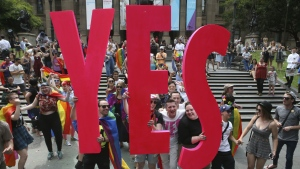 People celebrate after the announcement of the same-sex marriage postal survey result in front of the State Library of Victoria in Melbourne, Australia on Wednesday, Nov. 15, 2017.(David Crosling / AAP Image)