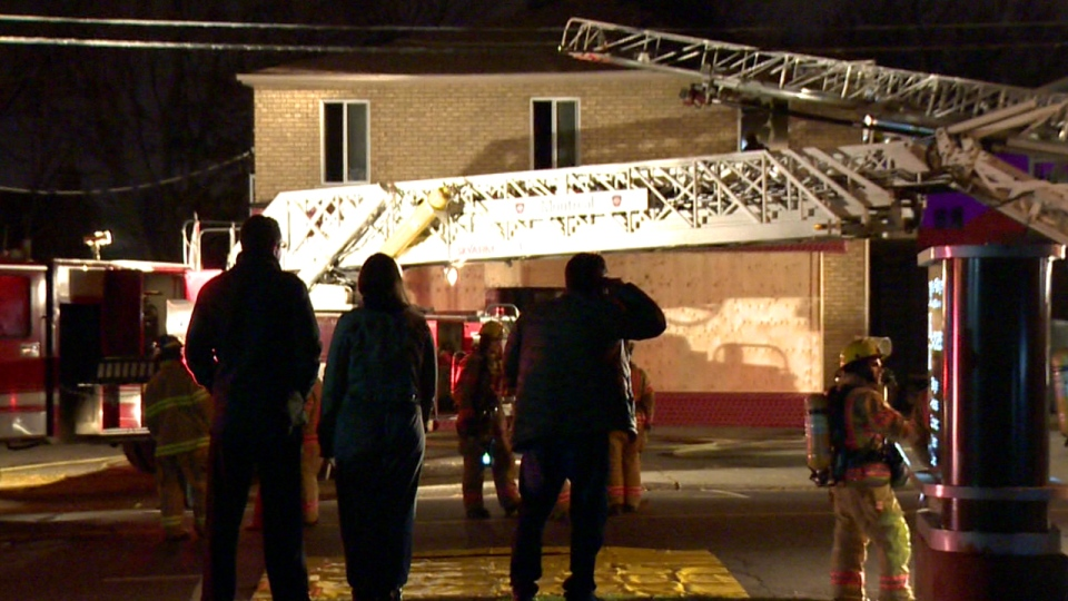 An apartment building in Dorval was evacuated after a fire broke out in one kitchen (CTV Montreal/Cosmo Santamaria)