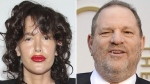 Paz de la Huerta and Harvey Weinstein are seen in this composite image. (Omar Vega, de la Heurta; Jordan Strauss, Weinstein / AP)