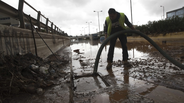 Flooding cleanup in Elefsina, western Athens