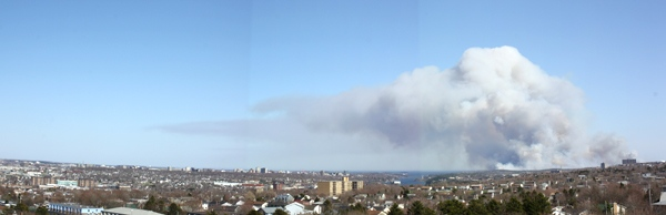 Panoramic view (view larger image) of the plume of smoke as it burns in the suburbs of Halifax. (Piero Balestra / MyNews.CTV.ca)
