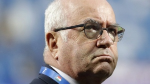 President of the Italian Soccer Federation Carlo Tavecchio at the Mapei Stadium in Reggio Emilia, Italy, on Sept. 5, 2017. (Luca Bruno / AP)