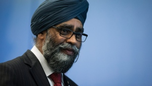 Defence Minister Harjit Sajjan leaves the stage after addressing a youth as peace builders working session at the 2017 United Nations Peacekeeping Defence Ministerial conference in Vancouver, B.C., on Tuesday November 14, 2017. (Darryl Dyck / THE CANADIAN PRESS)