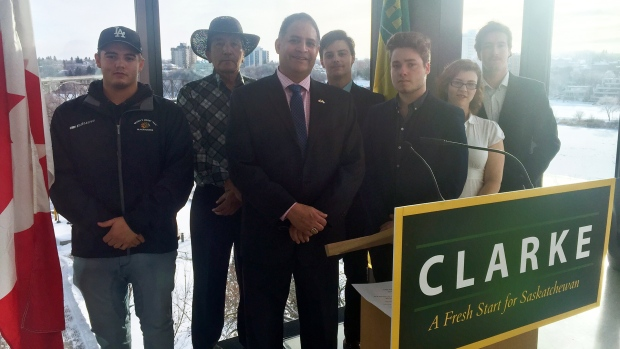 Rob Clarke announces his candidacy for leader of the Saskatchewan Party. (LAURA WOODWARD/CTV SASKATOON)