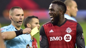 Toronto FC forward Jozy Altidore reacts after receiving a yellow card on Nov. 5, 2017. (Frank Gunn / THE CANADIAN PRESS)