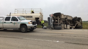 Two trucks collided at Wellington Road 7 and Wellington Road 12 in the community of Parker on Wednesday, Nov. 15, 2017. (Emma Ens / CTV Kitchener)