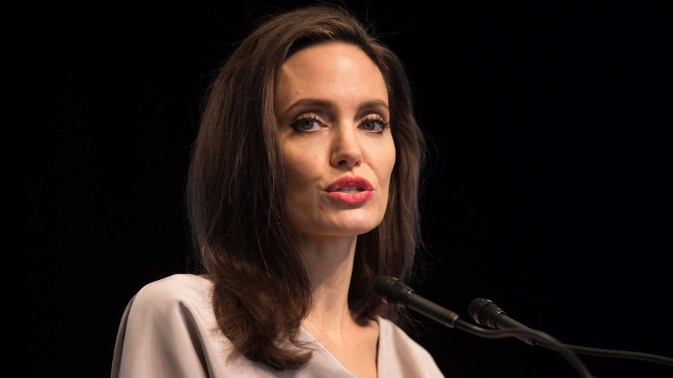 UNHCR Special Envoy Angelina Jolie gives the keynote address to delegates at the 2017 United Nations Peacekeeping Defence Ministerial conference in Vancouver, B.C., on Wednesday November 15, 2017. THE CANADIAN PRESS/Darryl Dyck