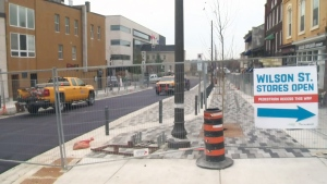 Construction work keeps Wilson Street in Guelph closed to vehicles on Wednesday, Nov. 15, 2017.