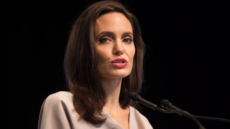 UNHCR Special Envoy Angelina Jolie gives the keynote address to delegates at the 2017 United Nations Peacekeeping Defence Ministerial conference in Vancouver, B.C., on Wednesday November 15, 2017. (THE CANADIAN PRESS/  Darryl Dyck)